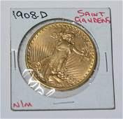 1908-D NO MOTTO $20 SAINT GAUDENS GOLD COIN