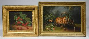 TWO LATE 19TH-EARLY 20TH C., O/C, STILL LIFES OF