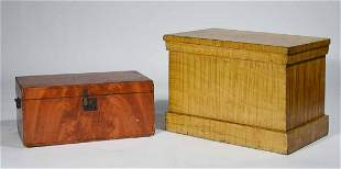 TWO 19TH C. GRAIN-PAINTED LIFT TOP BOXES