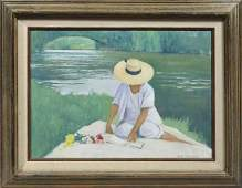 ROBERT MOORE, LATE 20TH C. O/C, THE STRAW HAT