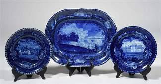 THREE ENOCH WOOD HISTORICAL BLUE STAFFORDSHIRE SHELL