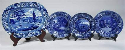 FOUR HISTORICAL BLUE STAFFORDSHIRE TRANSFER-PRINTED