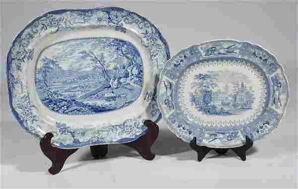 TWO HISTORICAL BLUE STAFFORDSHIRE PLATTERS