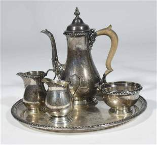 SET OF FIVE STERLING SILVER PIECES: GORHAM TEAPOT,