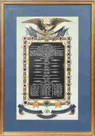 CIVIL WAR HAND-COLORED LITHOGRAPH, REBELLION 1861-1865,