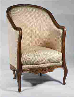 PERIOD LOUIS XV CARVED FRENCH WALNUT HIGH BARREL-BACK