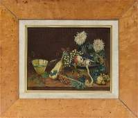 SIGNED 19TH C. O/C STILL LIFE OF FRUIT AND FLOWERS IN