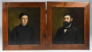 PAIR OF LATE 19TH C. LARGE O/C PORTRAITS