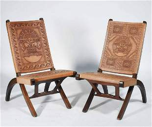 PAIR OF MID-CENTURY MODERN ECUADORIAN LEATHER FOLDING