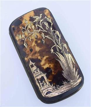 19TH C. GOLD INLAID LADIES NECESSITIES CASE