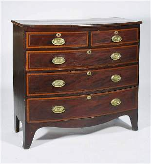 19TH C. INLAID ENGLISH MAHOGANY BOW-FRONT CHEST
