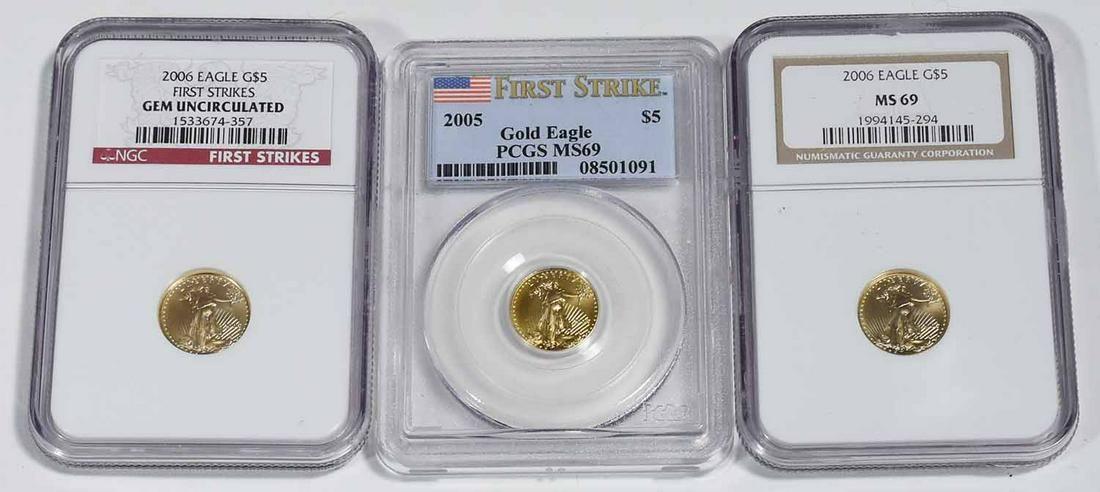 (3) SLABBED 1/10 OZ. GOLD AMERICAN EAGLES