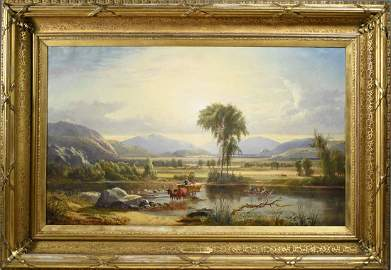 HARRISON BIRD BROWN OIL ON CANVAS, CROSSING THE SACO