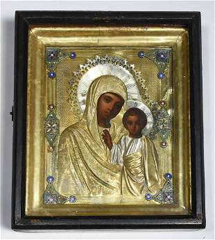 19TH C. FRAMED RUSSIAN ICON.