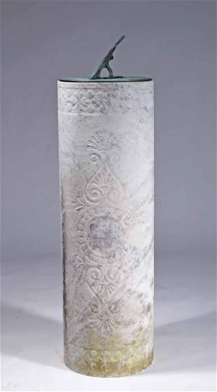 BRONZE SUNDIAL ON CARVED MARBLE BASE.