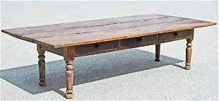 LARGE 19TH C. ANTIQUE COUNTRY FARM TABLE WITH DRAWERS