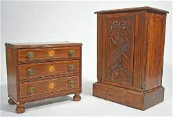 19TH C. CHILD'S CHEST AND FRENCH BOX.
