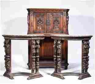 PAIR OF LATE 19TH C. EUROPEAN CONSOLES AND COURT