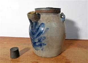 19TH C. STONEWARE BATTER JUG WITH TIN COVER