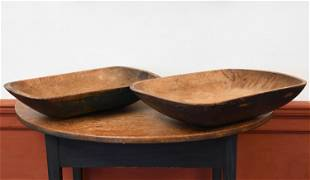 TWO PAINTED 19TH C. OVAL CHOPPING BOWLS