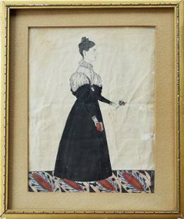 19TH C. WATERCOLOR OF A WOMAN