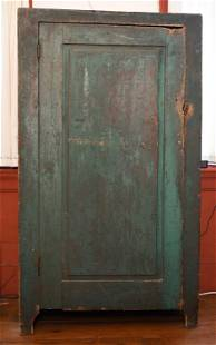 EARLY 19TH C. GREEN PAINTED JELLY CUPBOARD