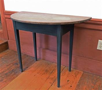 EARLY 19TH C. COUNTRY DEMI LUNE TABLE