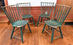 SET OF FOUR 19TH C. GREEN PAINTED WINDSOR CHAIRS