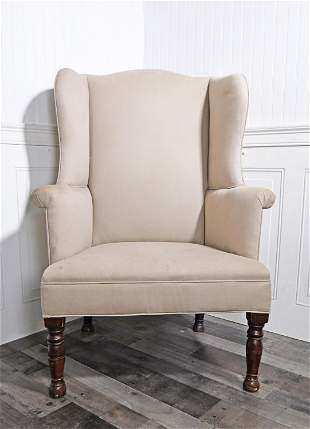EARLY 19TH C. AMERICAN COUNTRY WING CHAIR