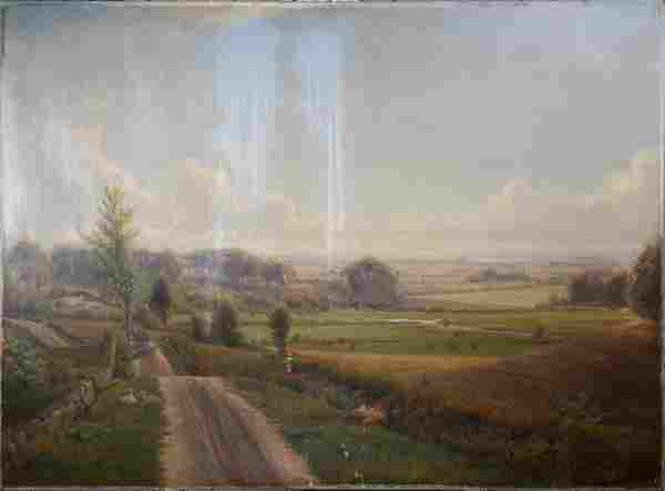NORDAHL GROVE, DANISH LANDSCAPE, SIGNED O/C.