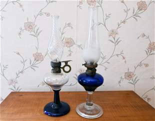 TWO 19TH C. COBALT & CLEAR OIL LAMPS