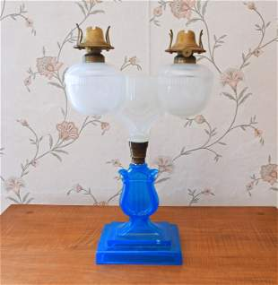 19TH C. CLAM BROTH FONT MARRIAGE LAMP