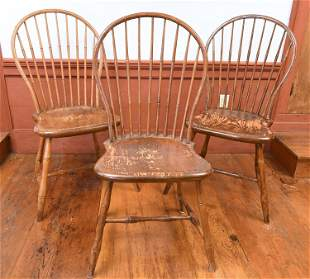 THREE EARLY 19TH C. WINDSOR CHAIRS