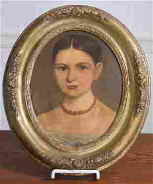 19TH C. OIL ON BOARD, PORTRAIT OF YOUNG GIRL