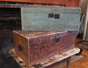 TWO 19TH C. PAINT DECORATED BOXES