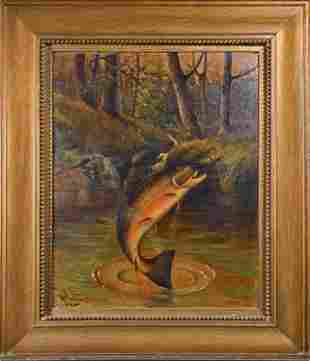19TH C. OIL ON BOARD SIGNED, W PLUMMER, FISH PAINTING.