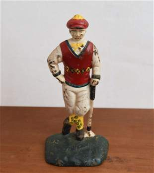 EARLY 20TH C. CAST IRON PAINTED GOLFER DOORSTOP