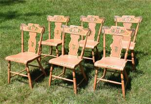 SIX 19TH C. PA PAINT DECORATED CHAIRS
