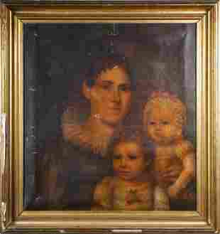 EARLY 19TH C. PORTRAIT OF MOTHER AND TWO CHILDREN.