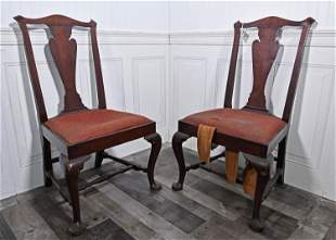 PAIR OF 18TH C. NEW ENGLAND QUEEN ANNE MAHOGANY CHAIRS.