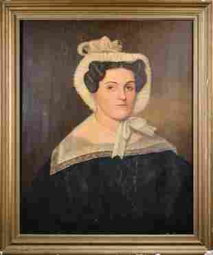 19TH C. UNSIGNED OIL ON BOARD PORTRAIT OF A LADY.