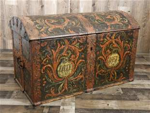 1837 EUROPEAN PAINT DECORATED MARRIAGE CHEST