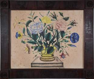 19TH C. WATERCOLOR THEOREM, BASKET OF FLOWERS