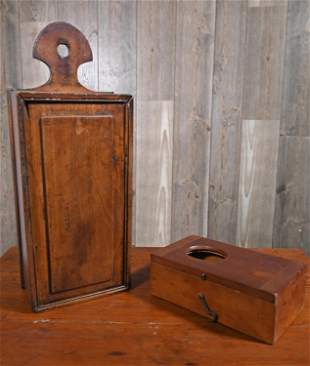 19TH C. WATCH HUTCH AND CANDLE BOX
