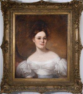 19TH C. O/C PORTRAIT OF MARGARET HAMMER ALEXANDER.