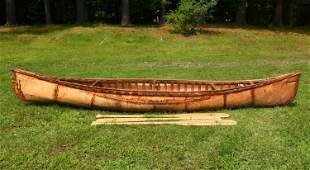 12' NATIVE AMERICAN BIRCH BARK CANOE WITH HISTORY