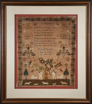 19TH C. NEEDLEWORK SAMPLER, MARTHA RICHARDSON AGED 12