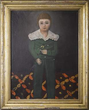 19TH C. O/C, FULL LENGTH PORTRAIT OF YOUNG BOY WITH