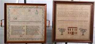 TWO 19TH C. FRAMED NEEDLEWORK SAMPLERS