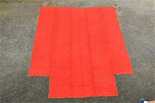 EARLY SEWN QUILT, RED TOP, LINEN BACK, AND GREEN TRIM
